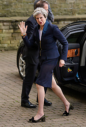 © Licensed to London News Pictures. 18/05/2017. Halifax, UK.  British prime minister THERESA MAY Arrives for the launch event for the Conservative Party manifesto at The Arches in Halifax, West Yorkshire. The Conservatives are the last of the three main parties to launch their manifesto ahead of a snap general election called for June 8, 2017. Photo credit: Ben Cawthra/LNP