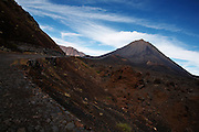 Road into the crater of Pico Fogo, the country's highest mountain, an active volcano towering at 2,829m (9,281 feet) in the Fogo national park on Fogo island, Cape Verde on Wednesday January 6, 2010..