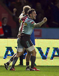 Harlequins' Danny Care celebrates at the end of the Aviva Premiership match at Twickenham Stoop, London.