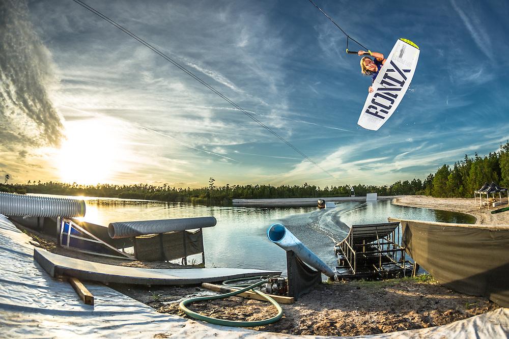 Dallas Friday shot for Ronix Wakeboards at Lake Ronix in Orlando, Florida.