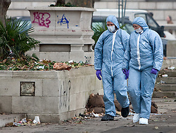 © Under license to London News pictures. 10/12/2010 A Forensic team collecting evidence in parliament square today (10/12/2010) following student demonstrations. Students clashed with police and vandalised memorials and bulildings in parliament square around Westminster. Photo credit should read Fuat Akyuz/London News Pictures...