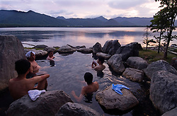 Lakeside outdoor rotemburo or onsen at Lake Akan in Hokkaido Japan