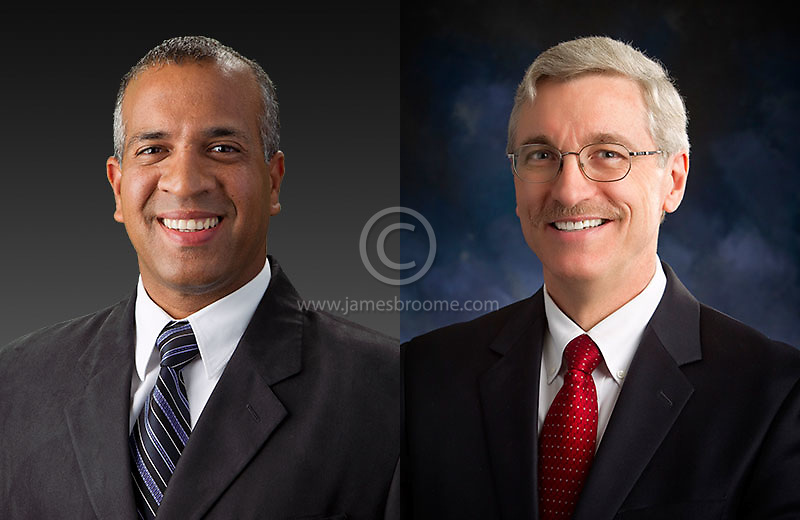 On-location corporate headshots using professional studio lighting and backdrops