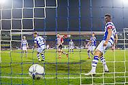 DOETINCHEM, de Graafschap - PSV, voetbal, Eredivisie seizoen 2015-2016, 31-10-2015, Stadion De Vijverberg, PSV speler Davy Propper (M) scoort de 0-3, De Graafschap speler Ted van de Pavert (R).