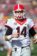 LITTLE ROCK, AR - OCTOBER 18:  Hutson Mason #14 of the Georgia Bulldogs warming up before a game against the Arkansas Razorbacks at War Memorial Stadium on October 18, 2014 in Little Rock, Arkansas.  The Bulldogs defeated the Razorbacks 45-32.  (Photo by Wesley Hitt/Getty Images) *** Local Caption *** Hutson Mason