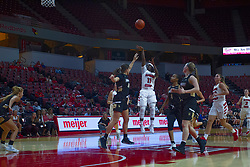 NORMAL, IL - October 30: Tete Maggett shoots over Kate Ruzevich during a college women's basketball game between the ISU Redbirds and the Lions on October 30 2019 at Redbird Arena in Normal, IL. (Photo by Alan Look)