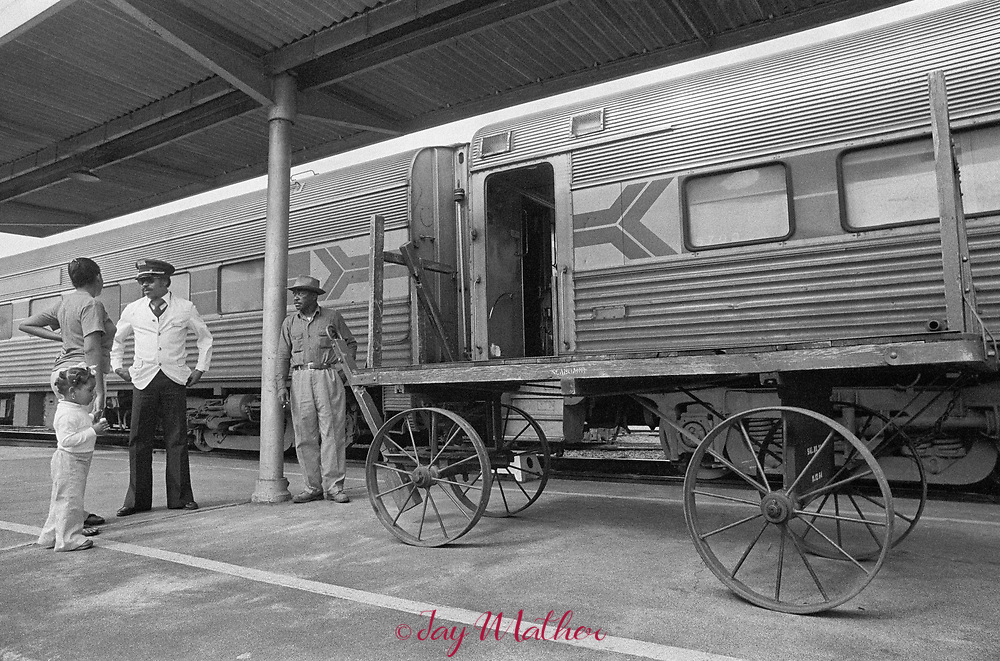 The Amtrak Floridian passenger train that operated between Chicago, Illinois and Miami, Florida ceased operation in 1979.  It was the last passenger train that serviced Louisville. Kentucky as well.  These photographs document the final days for the workers in the Chicago Yards, the Amtrak employees aboard the train, an engineer,, W.C. Roddy, that drove the train between Louisville and Bowling Green, KY and the passengers who enjoyed riding the rails.<br /> <br /> Pictured:  Henry LaSane, a Floridian porter, meets with his family for a few minutes when the train stops in his hometown of Wildwood, Florida.