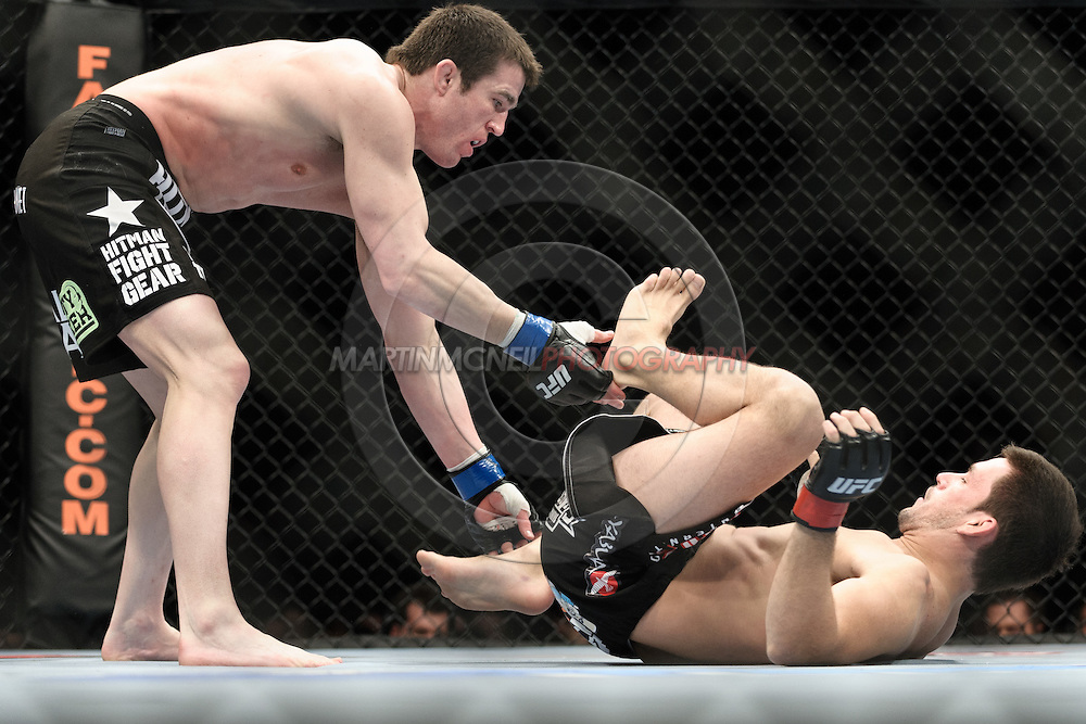 "LONDON, ENGLAND, FEBRUARY 21, 2009: Chael Sonnen (left) and Demian Maia during ""UFC 95: Sanchez vs. Stevenson"" inside the O2 Arena in Greenwich, London."