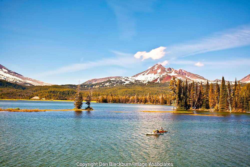 Kayaking on Sparks Lake in the Cascade Mountains of Oregon Beneath Brokentop Mountain