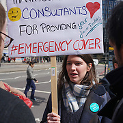 London,England,UK : 26th April 2016 : Day One , Junior doctors forced to escalate action as Government refuses to end dispute through talks outside St Thomas Hospital, London. Photo by See Li