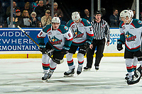 KELOWNA, CANADA - JANUARY 30: Mark Liwiski #9 of the Kelowna Rockets skates to the bench to celebrate a first period goal against the Seattle Thunderbirds  on January 30, 2019 at Prospera Place in Kelowna, British Columbia, Canada.  (Photo by Marissa Baecker/Shoot the Breeze)