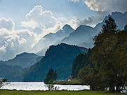 "Near Maloja mountain pass, Lake Sils (Lej da Segl) is famous for windsurfing, in Graubünden canton, Grison Alps, Switzerland, Europe. The Swiss valley of Engadine translates as the ""garden of the En (or Inn) River"" (Engadin in German, Engiadina in Romansh, Engadina in Italian)."