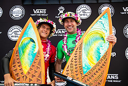 First place Joel Parkinson and runner up Mateus Herdy to the Hawaiian Pro at Haleiwa, Oahu, Hawaii, USA.