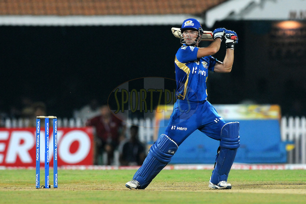Davy Jacobs of Mumbai Indians bats during match 3 of the NOKIA Champions League T20 ( CLT20 )between the Chennai Superkings and the Mumbai Indians held at the M. A. Chidambaram Stadium in Chennai , Tamil Nadu, India on the 24th September 2011..Photo by Pal Pillai/BCCI/SPORTZPICS