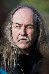© London News Pictures. 05/11/2014. Scorpions lead guitarist, Uli Jon Roth arriving at the service. The funeral Jack Bruce at Golders Green Crematorium in North London. Jack Bruce was the lead singer and bass player for British Rock band Creme, alongside Eric Clapton and Ginger Baker. Creme sold over 15 million albums worldwide and were widely considered to be the worlds first successful supergroup. Photo credit : Ben Cawthra/LNP