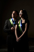 Anaheim , California - April 11, 2015: Molossian Comodore Jonathan Miller, and his wife Katie Miller pose for a portrait during the MicroCon 2015 cotillion at the Unitarian Universalist Church in Anaheim Saturday April 11, 2015.<br /> CREDIT: Matt Roth