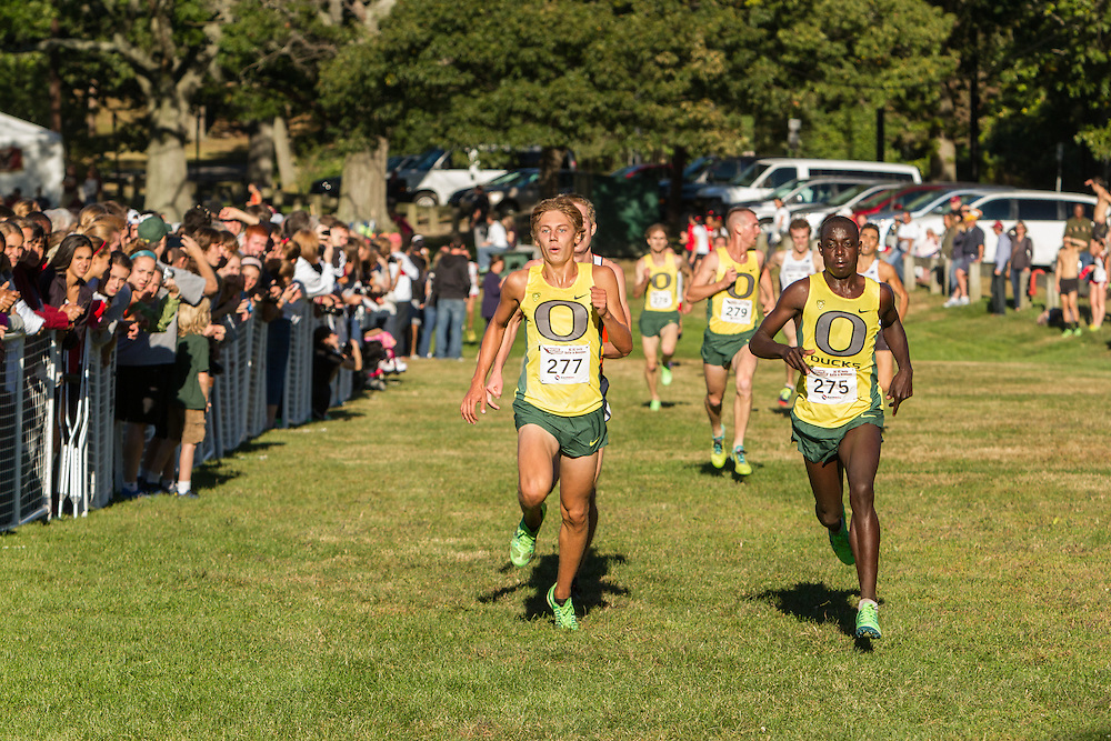 Boston College Invitational Cross Country race at Franklin Park; Oregon runners Ed Cheserek and Jake Leingang sprint to the line to finish 1-2
