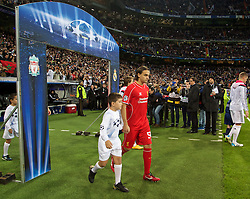 MADRID, SPAIN - Tuesday, November 4, 2014: Liverpool's Lazar Markovic walks out to face Real Madrid during the UEFA Champions League Group B match at the Estadio Santiago Bernabeu. (Pic by David Rawcliffe/Propaganda)