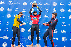 Yago Dora (BRA - red) is the winner of the 2018 Redbull Airborne speciality event after placing frist in the final with Griffin Colapinto (USA - yellow) placing second and Jack Freestone (AUS - black) placing third in Hossegor, France.