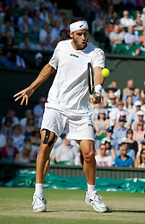 LONDON, ENGLAND - Wednesday, June 29, 2011: Feliciano Lopez (ESP) in action during the Gentlemen's Singles Quarter-Final match on day nine of the Wimbledon Lawn Tennis Championships at the All England Lawn Tennis and Croquet Club. (Pic by David Rawcliffe/Propaganda)