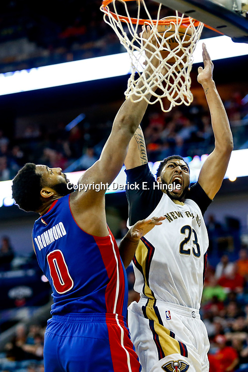 Mar 1, 2017; New Orleans, LA, USA; New Orleans Pelicans forward Anthony Davis (23) shoots over Detroit Pistons center Andre Drummond (0) during the second half of a game at the Smoothie King Center. The Pelicans defeated the Pistons 109-86. Mandatory Credit: Derick E. Hingle-USA TODAY Sports
