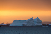 An iceberg at sunset in the Lemaire channel, Antarctica.