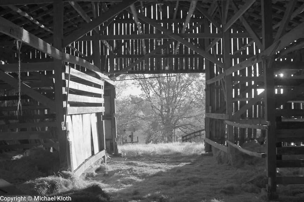 Inside a barn in rural Kentucky.  Infrared (IR) photograph by fine art photographer Michael Kloth. Black and white infrared photographs