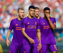 CHARLOTTE, USA - Sunday, July 22, 2018: Liverpool's Ragnar Klavan, Dominic Solanke, Nathaniel Phillips and Joe Gomez during a preseason International Champions Cup match between Borussia Dortmund and Liverpool FC at the  Bank of America Stadium. (Pic by David Rawcliffe/Propaganda)