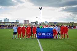 MOSCOW, RUSSIA - Tuesday, September 26, 2017: Liverpool and Spartak Moscow players pose for a team photo with a UEFA Respect banner before the UEFA Youth League Group E match between Liverpool and Spartak Moscow FC at the Spartak Academy. (Pic by David Rawcliffe/Propaganda)