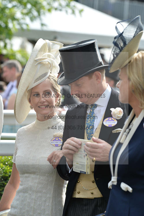 HRH The COUNTESS OF WESSEX and the EARL OF DERBY at the 1st day of the Royal Ascot Racing Festival 2015 at Ascot Racecourse, Ascot, Berkshire on 16th June 2015.