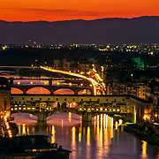 Ponte Vechio at Night. Florence, Italy.