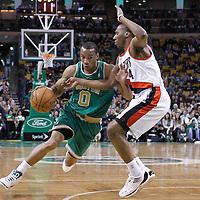 09 March 2012:  Boston Celtics shooting guard Avery Bradley (0) drives past Portland Trail Blazers guard Nolan Smith (4) during the Boston Celtics 104-86 victory over the Portland Trail Blazers at the TD Banknorth Garden, Boston, Massachusetts, USA.