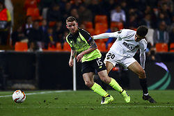 February 21, 2019 - Valencia, Spain - Jonny Hayes of Celtic FC (L) and Ferran Torres of Valencia CF (R)  during round of 32 Second leg of UEFA Europa league  match between Valencia CF vs Celtic at Mestalla Stadium on February 21, 2019. (Photo by Jose Miguel Fernandez/NurPhoto) (Credit Image: © Jose Miguel Fernandez/NurPhoto via ZUMA Press)