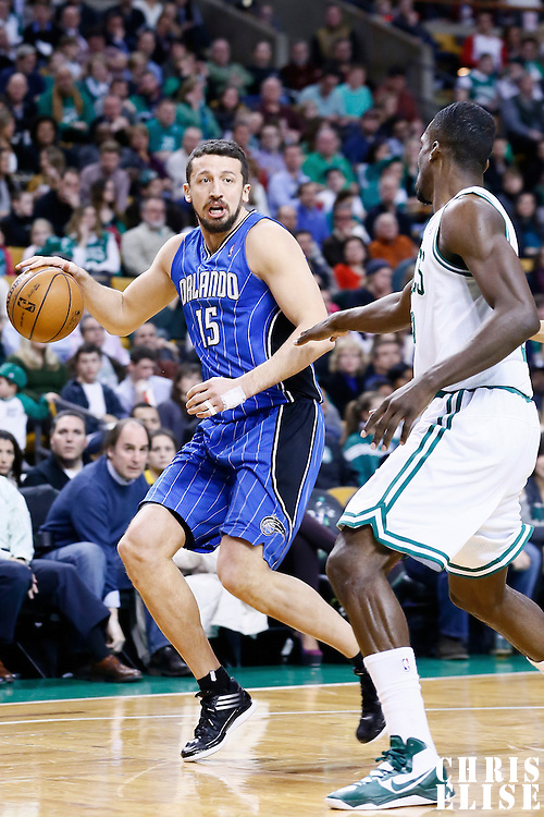 01 February 2013: Orlando Magic small forward Hedo Turkoglu (15) dribbles during the Boston Celtics 97-84 victory over the Orlando Magic at the TD Garden, Boston, Massachusetts, USA.