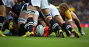 Australia's Michael Hooper sniping at the Scottish scrum, during the Rugby World Cup Quarter Final match between Australia and Scotland at Twickenham, Richmond, United Kingdom on 18 October 2015. Photo by Matthew Redman.