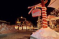 Zog's Beavertails restaurant in Whistler Village is lit for Christmas.