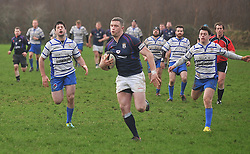 Ahead of the Pack......Westport's Kevin Corcoran runs in to score Westport's 1st try in their win over OLBC in Carrowholly on sunday last.<br /> Pic Conor McKeown