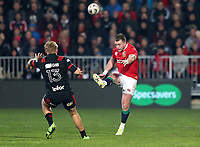 Rugby Union - 2017 British & Irish Lions Tour of New Zealand - Crusaders vs. British & Irish Lions<br /> <br /> Stuart Hogg of The British and Irish Lions ia taken out by Jack Goodhue of The Crusaders and goes off injured at AMI Stadium [Rugby League Park], Christchurch.<br /> <br /> COLORSPORT/LYNNE CAMERON