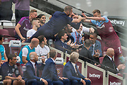 Andriy Yarmolenko (West Ham) celebrates his goal with those on the bench to give West Ham a 2-0 lead in the 2nd half during the Premier League match between West Ham United and Norwich City at the London Stadium, London, England on 31 August 2019.