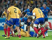 London, Great Britain,   French, Hooker and captain, Dimitri SZARZEWSKI, at the heart of the play, during the Pool D game,   France vs Romania. 2015 Rugby World Cup, Venue. The Stadium Queen Elizabeth Olympic Park. Stratford. East London. England,, Wednesday  23/09/2015. <br /> [Mandatory Credit; Peter Spurrier/Intersport-images]