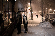 After closing for the night, The Bus Stop Music Cafe in Pitman, NJ gets a look over from some folks out walking in the snow.