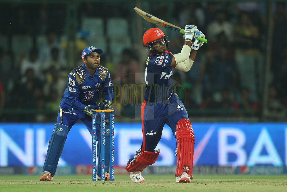 Shreyas Iyer of the Delhi Daredevils hits over the top for a six during match 21 of the Pepsi IPL 2015 (Indian Premier League) between The Delhi Daredevils and The Mumbai Indians held at the Ferozeshah Kotla stadium in Delhi, India on the 23rd April 2015.<br /> <br /> Photo by:  Deepak Malik / SPORTZPICS / IPL