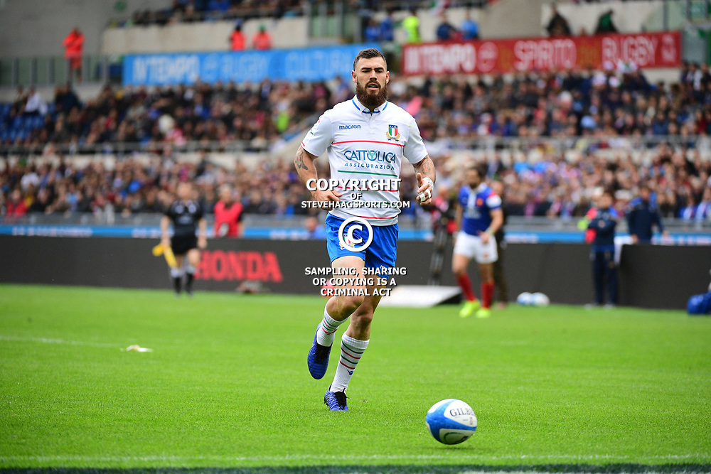 Jayden Hayward of Italy during the Guinness Six Nations match between Italy and France on March 16, 2019 in Rome, Italy. (Photo by Dave Winter/Icon Sport)