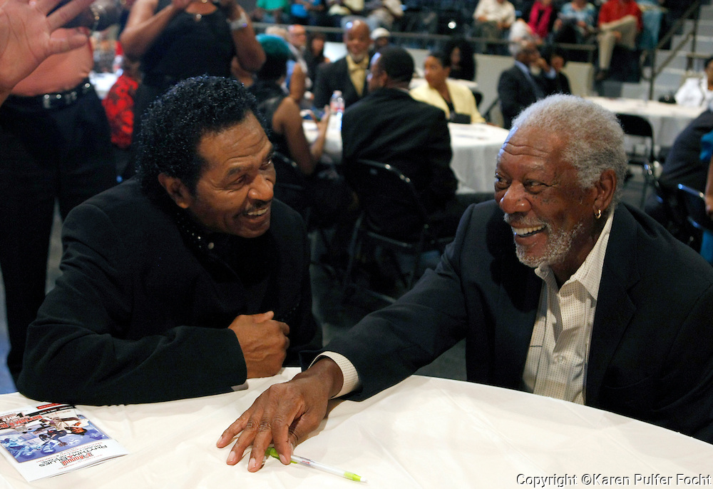 """The Rhythm & Blues Lifetime Achievement Award was given to MORGAN FREEMAN, (rt) actor and nightclub owner, in Clarksdale, Mississippi on Saturday evening. Entertainer BOBBY RUSH, (left) who headlined the event, was inducted into the hall of fame. Clarksdale Mayor Bill Luckett said, """"We are happy to have been chosen as the home of the Official Rhythm and Blues Music Hall of Fame. Clarksdale is more than ready for this opportunity."""""""