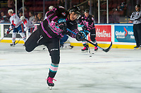 KELOWNA, BC - SEPTEMBER 21:  Alex Swetlikoff #17 of the Kelowna Rockets warms up against the Spokane Chiefs  at Prospera Place on September 21, 2019 in Kelowna, Canada. (Photo by Marissa Baecker/Shoot the Breeze)