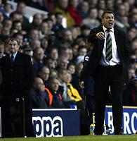 Photo. Aidan Ellis.<br />Tottenham Hotspur v Bolton Wanderers.<br />FA Barclaycard Premiership.<br />01/10/2003.<br />Bolton's manager Sam Allardyce gets his point across to his team as David Pleat watches on