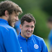 St Johnstone Training…29.07.16<br />Danny Swanson having fun during training this morning at McDiarmid Park<br />Picture by Graeme Hart.<br />Copyright Perthshire Picture Agency<br />Tel: 01738 623350  Mobile: 07990 594431