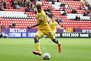 AFC Wimbledon striker Lyle Taylor (33) with a shot on goal during the EFL Sky Bet League 1 match between Charlton Athletic and AFC Wimbledon at The Valley, London, England on 28 October 2017. Photo by Matthew Redman.
