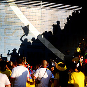 EAST RUTHERFORD, NEW JERSEY - JUNE 17:  Colombia and Peru fans arrive to MetLife stadium in the late afternoon sunshine during the Colombia Vs Peru Quarterfinal match of the Copa America Centenario USA 2016 Tournament at MetLife Stadium on June 17, 2016 in East Rutherford, New Jersey. (Photo by Tim Clayton/Corbis via Getty Images)