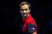 Daniil Medvedev of Russia smiles during the Nitto ATP Finals at the O2 Arena, London, United Kingdom on 15 November 2019.